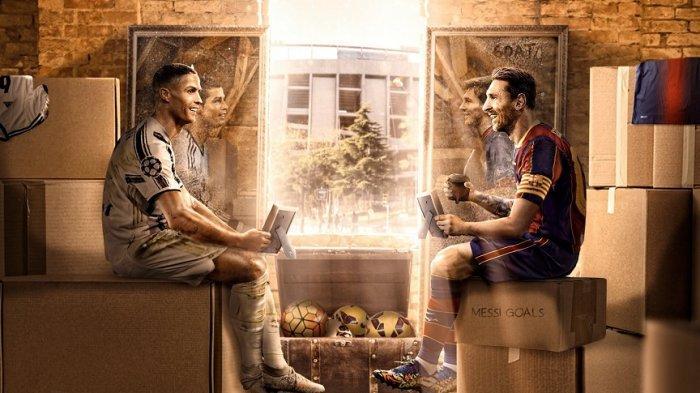 Bintang Barcelona Lionel Messi (kiri) dan bintang Juventus Cristiano Ronaldo