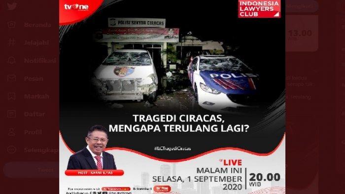 LINK Live Streaming TV One ILC Malam ini, Karni Ilyas Bahas Tragedi Ciracas