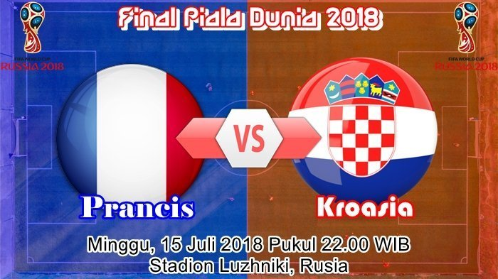 Bursa Prediksi, Statistik, Perkiraan Line Up Prancis vs Kroasia Final Piala Dunia 2018 Live Trans TV