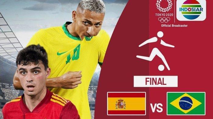 Live TVRI & Indosiar! Link Streaming TV Online Brazil vs Spanyol Final Olimpiade Tokyo Hari Ini