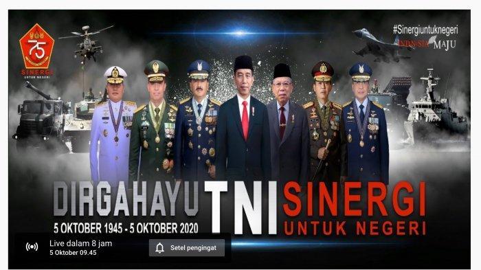 Live Streaming HUT TNI ke 75 Senin Upacara Virtual 5 Oktober 2020 Pkl 09.00 WIB Sinergi untuk Negeri