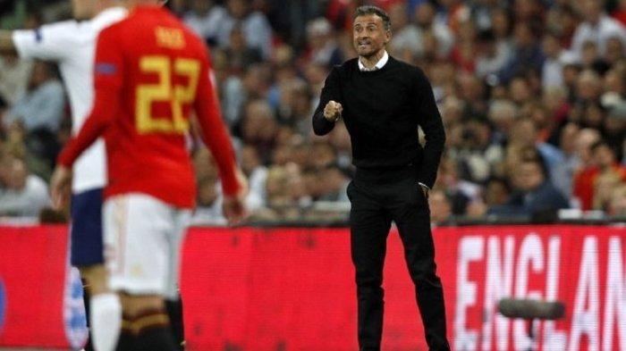 Luis Enrique menjalani debut sebagai pelatih timnas pada laga Inggris vs Spanyol di Stadion Wembley, 8 September 2018.