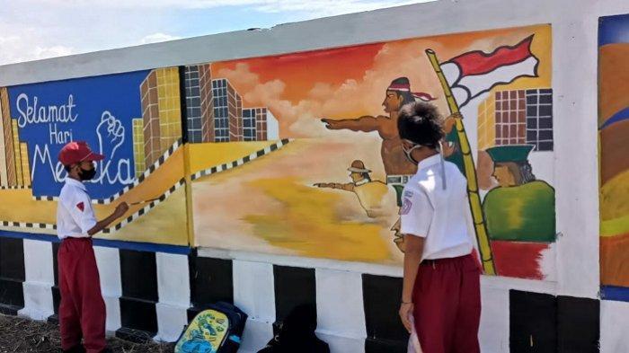 Lukisan Mural Bikin Tembok Pagatan Tanbu Tak Kumuh Kembali Dirusak Oknum Warga
