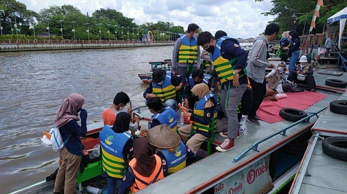 Praktikum Survei Hidrografi dan GPS, Mahasiswa Prodi Geografi ULM Petakan Sungai Martapura