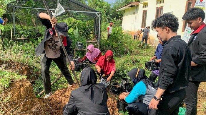 Mahasiswa Universitas Muhammadiyah Malang (UMM) bersama pengurus dan kader PKK menanam tanaman obat keluarga di Desa Polewali Marajae, Kecamatan Batulicin, Kabupaten Tanah Bumbu (Tanbu), Provinsi Kalimantan Selatan.