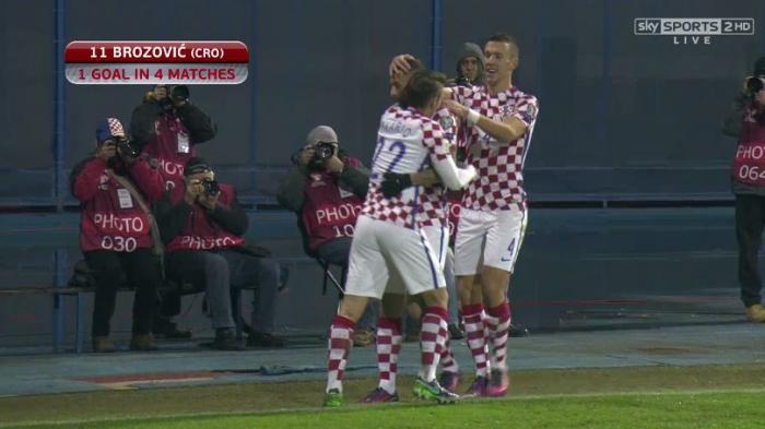 Marcelo Brozovic usai mencetak gol untuk timnas Kroasia