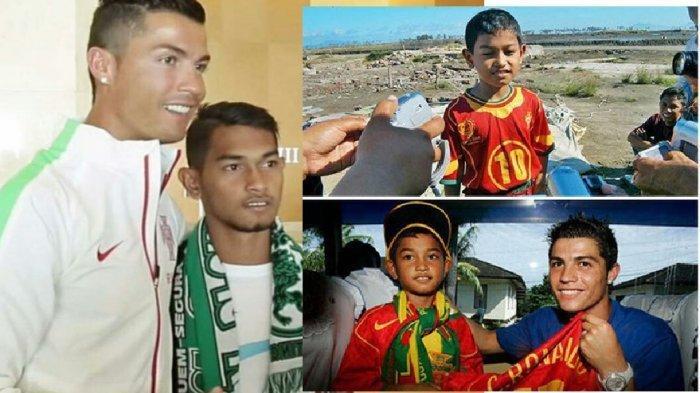 Cristiano Ronaldo dan Martunis Sarbini dan foto kenangan tahun 2004 ketika Martunis dijadikan anak angkat CR7. Ronaldo iba pada nasib Martunis, bocah korban tsunami Aceh.