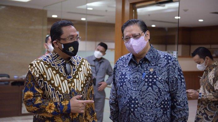 Menteri Koordinator (Menko) Bidang Perekonomian, Airlangga Hartarto, di acara Webinar BPK RI Seri II di Jakarta, Selasa (15/6/2021).