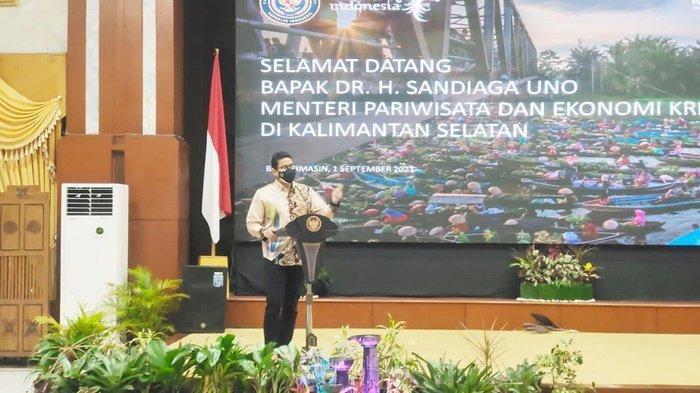 Menteri Pariwisata dan Ekonomi Kreatif (Menperekraf) RI, Sandiaga Salahuddin Uno, melakukan kunjungan kerja ke Provinsi Kalimantan Selatan, Rabu (1/9/2021).