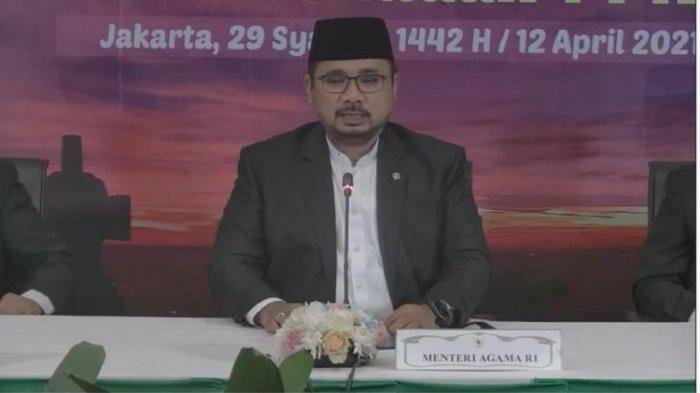 Menteri Agama Yaqut Cholil Qoumas saat mengumumkan penetapan 1 Ramadhan 1442 H.