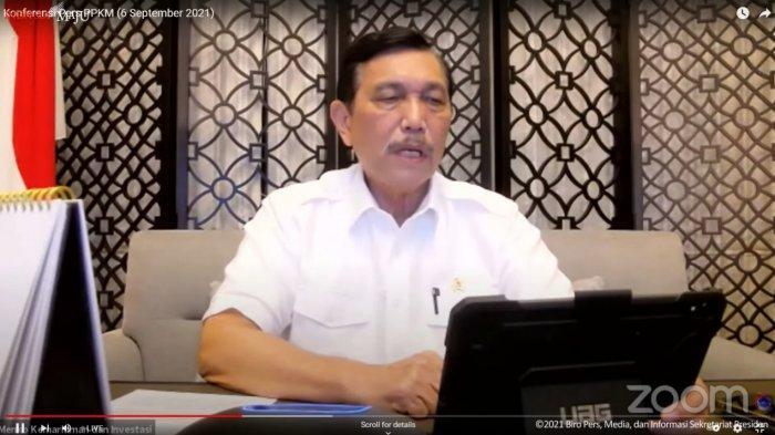 Menteri Koordinator Bidang Kemaritiman dan Investasi (Menko Marves), Luhut Binsar Pandjaitan dalam konferensi pers virtual, Senin (6/9/2021).