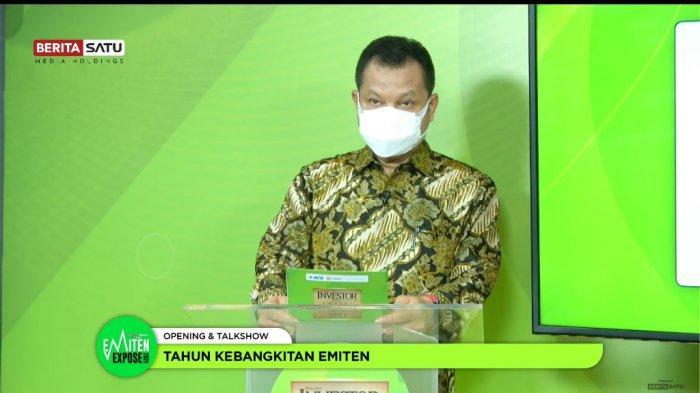 "Menteri Koordinator Bidang Perekonomian Airlangga Hartarto dalam acara Webinar Berita Satu yang bertemakan ""Tahun Kebangkitan Emiten"" di Jakarta (27/07)."