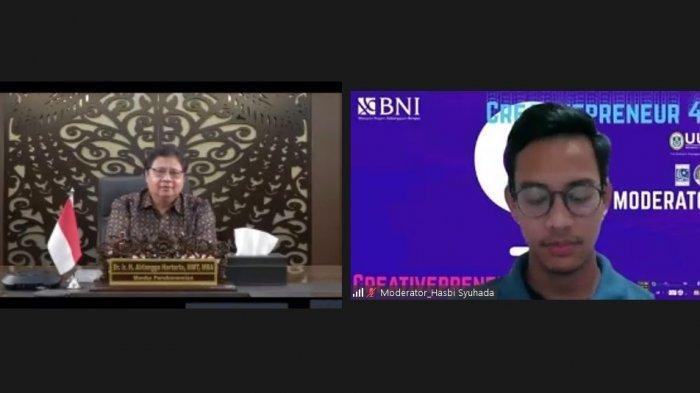 Menteri Koordinator Bidang Perekonomian Airlangga Hartarto dalam acara webinar Creativepreneur 4.0