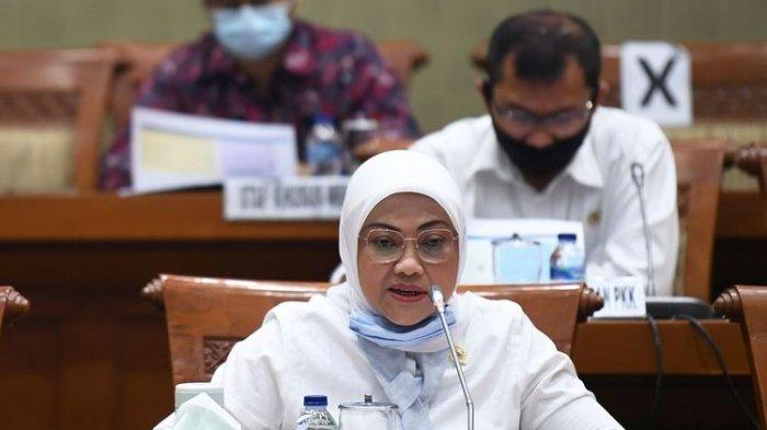 Menteri Tenaga Kerja Ida Fauziyah menyampaikan penjelasan terkait program subsidi pemerintah kepada pekerja dalam Rapat Dengar Pendapat bersama Dirut BPJS Ketenagakerjaan dan DPR Komisi IX DPR di Kompleks Parlemen Senayan, Jakarta, Rabu (26/8/2020). RDP tersebut diantaranya membahas program subsidi pemerintah kepada pekerja dengan upah dibawah Rp5juta dan evaluasi aturan hukum ketentuan BPJS Ketenagakerjaan untuk membantu peserta selama pandemi COVID-19.