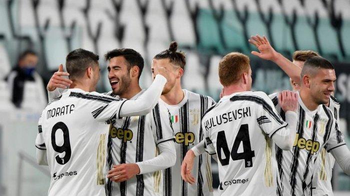 Para pemain Juventus merayakan gol Gianluca Frabotta ke gawang SPAL pada laga perempat final Coppa Italia di Stadion Allianz, Rabu (27/1/2021) atau Kamis dini hari WIB.