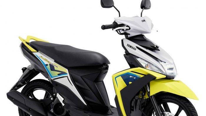 Metallic White merupakan perpaduan warna putih dengan grafik dari kombinasi warna biru, kuning kehijauan dan hitam