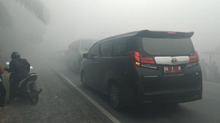 Ketika Bupati Batola Hj Noormiliyani Terjebak Kabut Asap Pekat, Jarak Pandang Cuma 1 Meter