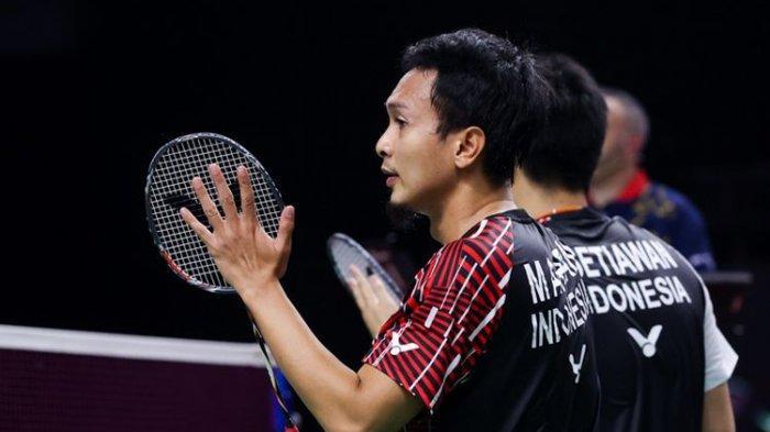 Mohammad Ahsan dan Hendra Setiawan saat tampil pada BWF World Tour Finals 2020 di Impact Arena, Bangkok, Thailand, 27-31 Januari 2021.