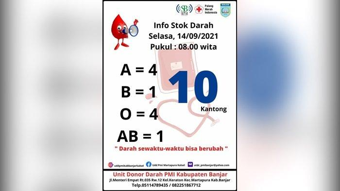 Stok Darah PMI Kabupaten Banjar Hanya Tinggal 10 Kantong