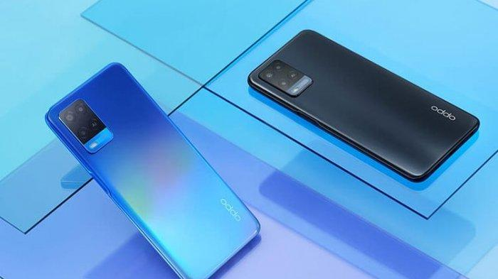Oppo A54 warna Starry Blue dan Crystal Black.