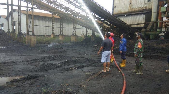 Pabrik Batu Bara di Wilayah Jorong Tanahlaut Terbakar, Asap Tebal Hitam Membumbung Tinggi