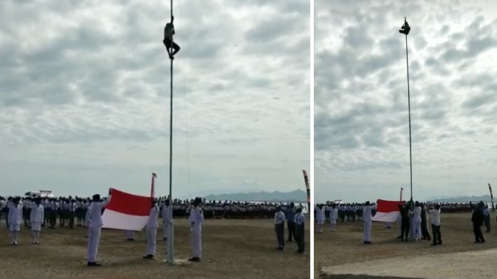Viral, Aksi Siswa Panjat Tiang Bendera di Peringatan HUT RI Ke-73 Ini Curi Perhatian Menpora