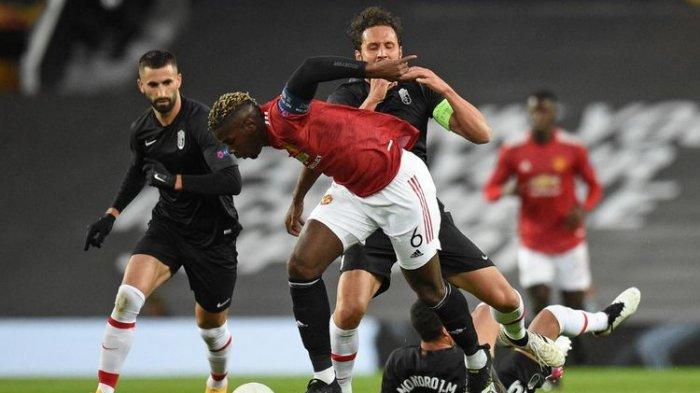 Paul Pogba beraksi pada pertandingan Manchester United lawan Granada pada laga perempat final leg kedua Liga Europa, Jumat (16/4/2021) dini hari WIB.