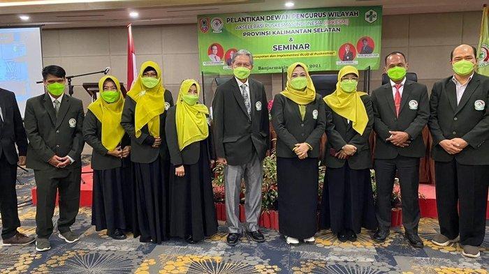 Pelantikan Dewan Pengurus Wilayah APKESMI (Akselerasi Puskesmas Indonesia) Kalsel di hotel Rattan Inn pada Sabtu (5/6/2021) .
