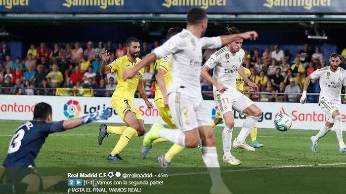 Hasil Liga Spanyol 2019-2020 - Selamatkan Muka Real Madrid, Gareth Bale Terjang Pemain Villarreal