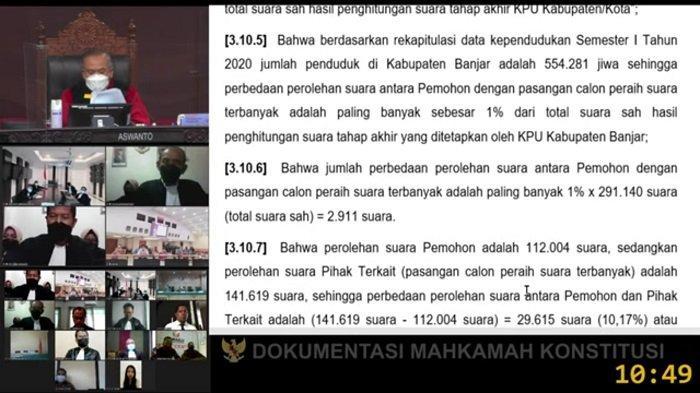 Gugatan H Rusli-Guru Fadlan Ditolak MK, Agenda Persidangan Sengketa Pilkada Banjar Dihentikan
