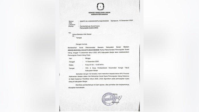 TPS 08 di Pembantanan Kabupaten Banjar Laksanakan Pemungutan Suara Ulang