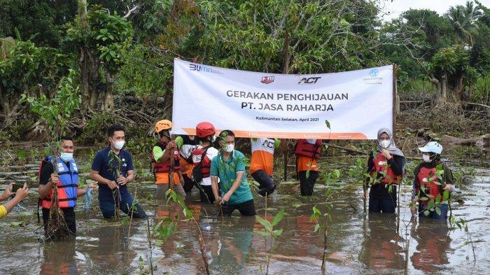 Peduli Eksistensi Bekantan, ACT dan Jasa Raharja Tanam Mangrove di Pulau Curiak Batola