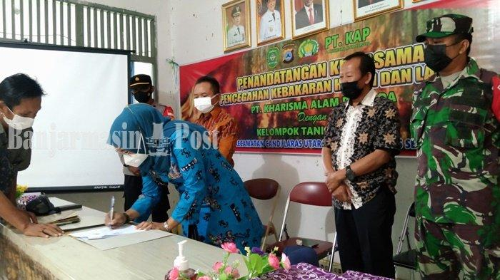 Camat Candi Laras Kabupaten Tapin dan Perusahaan Teken MoU untuk Cegah Karhutla