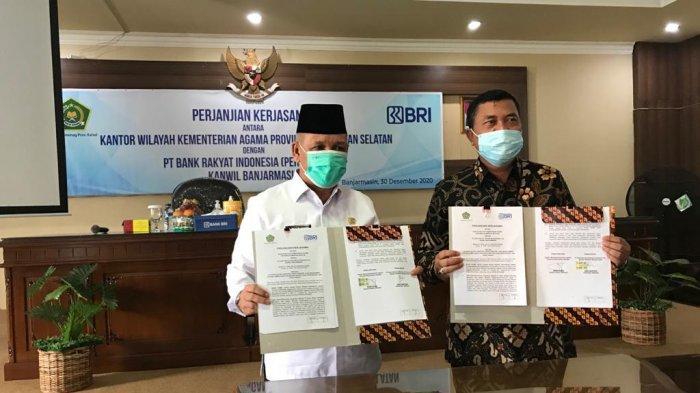 Penandatanganan perjanjian kerjasama BRI Kanwil Banjarmasin dengan Kanwil Kemenag Kalsel