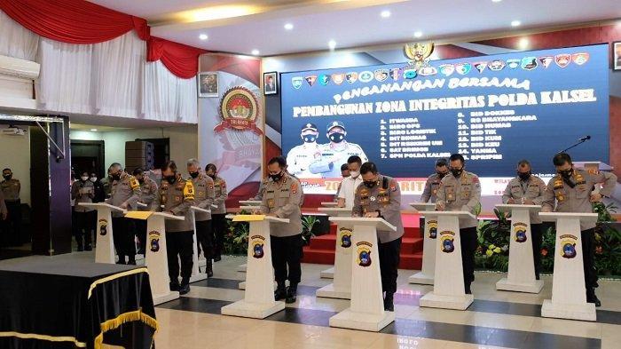 Genjot Reformasi Birokrasi, 15 Satker Polda Kalsel Canangkan Pembangunan Zona Integritas