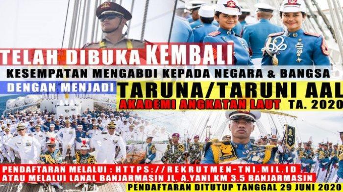 Dibuka Pendaftaran Taruna Taruni TNI AL, Daftar Lewat Website Resmi atau ke Lanal Banjarmasin