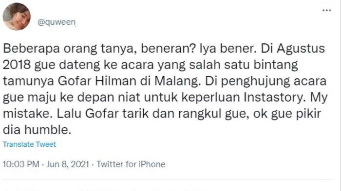 Pengakuan seorang netizen yang mengaku dilecehkan oleh Gofar Hilman.