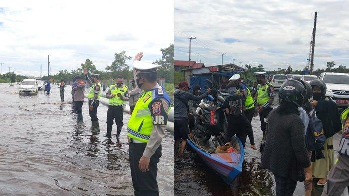 Banjir Kalteng, Jalan Trans Kalimantan di Pulangpisau Terendam, Pengendara Motor Menumpang Kelotok