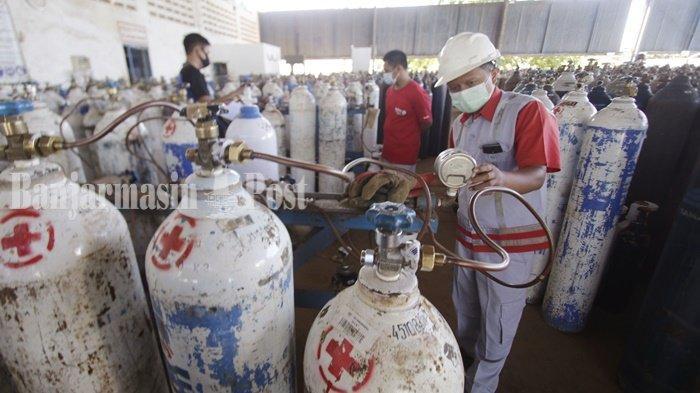 Warga Antre Isi Tabung Oksigen di PT Samator Kota Banjarbaru, Harga di Luaran Mahal