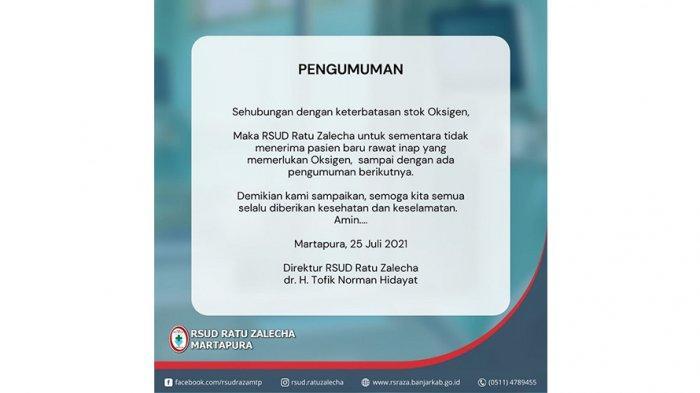 Persediaan Oksigen Menipis, RSUD Ratu Zalecha Banjar Tak Menerima Pasien Rawat Inap Baru