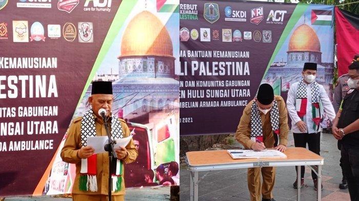 Bupati HSU H Abdul Wahid HK saat penyerahan bantuan dana kemanusiaan untuk Palestina.