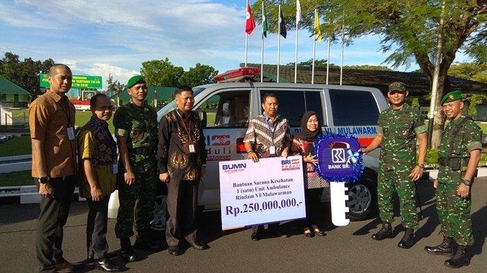 Kekurangan Mobil Ambulance, Akhirnya Rindam VI Mulawarman Dapat Bantuan Mobil Baru dari BRI
