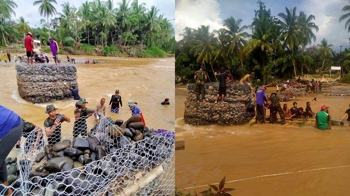 Perbaiki Jembatan Darurat di Desa Baru HST, Koramil Pagat Bergotong Royong Bantu Warga