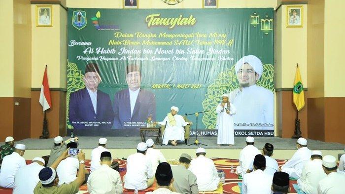 Peringatan Isra Mikraj di Aula Dr KH Idham Chalid, Kota Amuntai, Kabupaten Hulu Sungai Utara (HSU), Provinsi Kalimantan Selatan, Senin (1/3/2021).