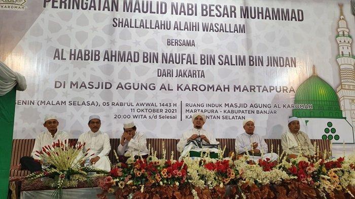 Peringatan Maulid Nabi di Masjid Agung Al Karomah Martapura, Senin (11/10/2021)