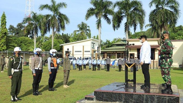 Perwakilan unsur petugas yang nantinya di lapangan melaksanakan Pengamanan Idul Fitri 1442 H di wilayah Kota Banjarbaru, Kalimantan Selatan, Rabu (5/5/2021).