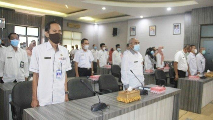 Peserta Sosialisasi Workshop Pengadaan Barang dan Jasa (PJA) di Auditorium Kantor Bupati, Kota Barabai, Kabupaten Hulu Sungai Tengah (HST), Kalimantan Selatan, Rabu (24/3/2021).