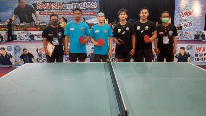 Petenis MejaDoubel Putra Kalsel Melaju ke Semi Final BNN Smash In Drugs