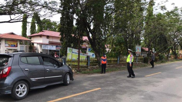 Pos cegat mudik di Kecamatan Lokpaikat, Tapin.