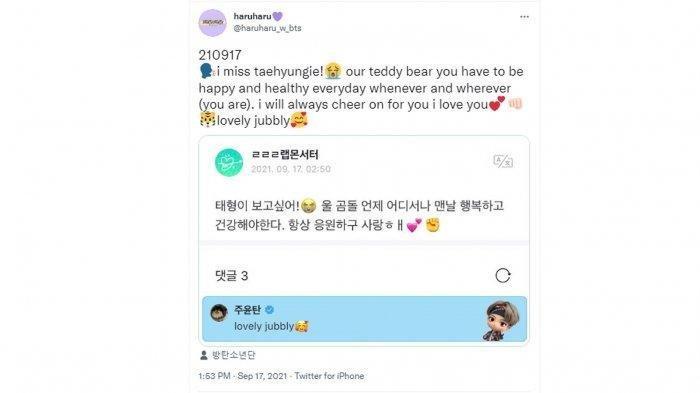 Postingan V BTS yang bikin heboh Twitter.